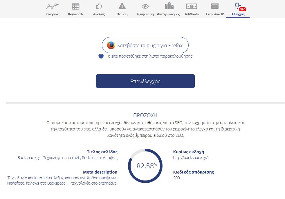 Έλεγχος SEO site Visibility.gr